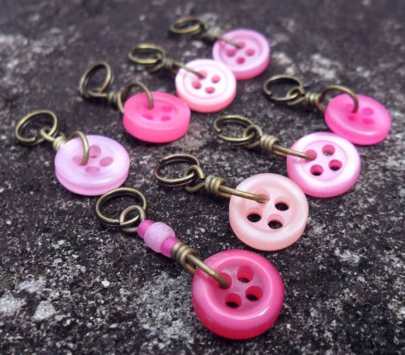 Extra Small Knitting Stitch Markers Button It  Pink set of 8