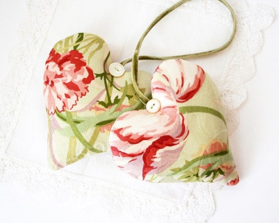 Pair of Floral Heart Sachets