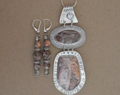 Silver and Agate Necklace Set