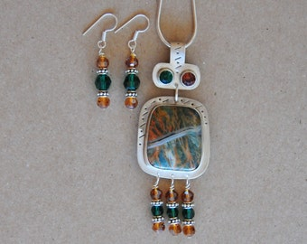Silver and Jasper Necklace Set