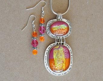 Silver & Glass Necklace Set