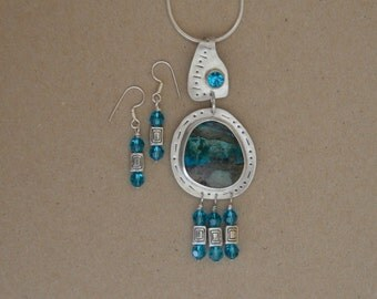 Silver and Chrysocolla Necklace Set