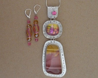 Silver, Glass and Jasper Necklace Set