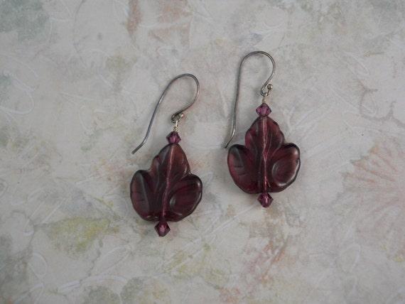 Purple Glass Leaf Earrings With Sterling Silver Ear Wires