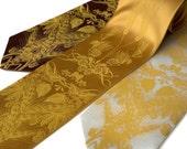 Beer. Hops, barley and wheat screenprinted microfiber necktie. Mustard ink. Standard width.