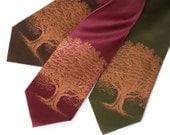 Oak Tree Necktie. Men's silk tie, tree silhouette design. Silkscreened tie, copper print. Nature lover, outdoor Autumn wedding.