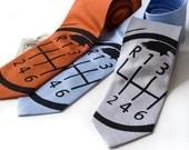 Gear Shift sharkskin necktie - 6 speed manual transmission. Microfiber woven silkscreen tie.