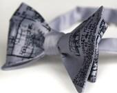 Detroit Blueprint bow tie, freestyle. Silkscreened silver necktie, navy ink.