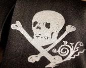 Skull and Bones necktie. Screenprinted microfiber men's tie.