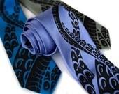 Sucker necktie. Silkscreened octopus tentacles, NARROW width.