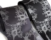 Neuron Necktie. Fried Brains axon & dendrite silkscreened neuroscience tie. Men's silk necktie. Dove gray print on black, cream or grays.