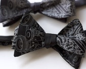 Exhaust bow tie, freestyle. Silkscreened tangled pipes, charcoal necktie.