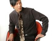 """Woodgrain necktie, """"Faux Bois."""" Silkscreened microfiber tie. Choose narrow or standard width."""