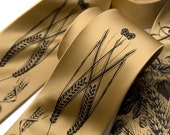 Beer tie. Hops, barley & wheat silk necktie. Honey silk tie, espresso brown ink. Perfect for craft beer lovers.