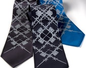 "C-130 Necktie. Airplane tie. ""Wingman"" silkscreened necktie. Aviation argyle design. Pale grey print. Choose standard or narrow."
