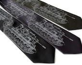 Tank necktie.  Dove gray silkscreen military tank print. German Panzer print tie. Choose standard, narrow or extra long.