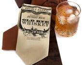 Whiskey Business screen printed silk necktie. Whiskey label prohibition-era inspired silkscreened men's tie. Black ink.