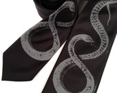 Snake necktie. Men's black tie, dove gray print. Reptile lover gift.  Chinese Astrology, Chinese New Year.