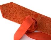 Cottage Lace, coral orange silk necktie. Tangerine Tango silkscreen men's tie.