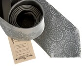Cottage Lace, silver silk necktie. Doily pattern screenprinted men's tie. Smokey gray tone on tone print.