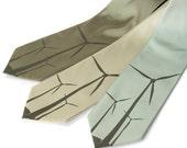 "Green ""Wind Turbine"" necktie. Windmill screenprinted tie, golden olive ink. Vegan safe microfiber"