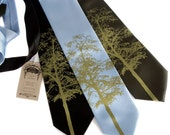 Mountain Aspen necktie. Tree silhouette tie, moss green print. Screenprinted microfiber. Choose standard or narrow width.