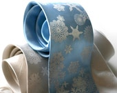 Silk Flakey. Winter snowflake screenprinted necktie