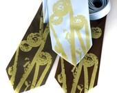 Fiddlehead Fern, screenprinted microfiber necktie