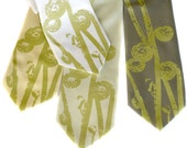 Fiddlehead Fern, screenprinted microfiber necktie