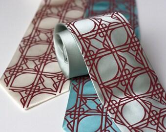 3 wedding silk ties. Groomsmen neckties, matching design - custom color group discount.