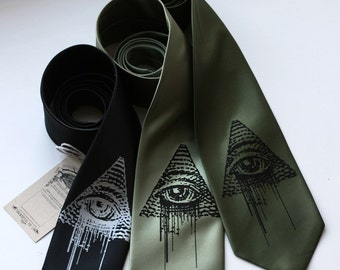 All-Seeing Eye tie. Illuminati, new world order necktie. Screenprinted Eye of Providence. Narrow or standard width.