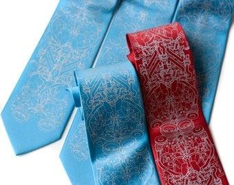 5 custom wedding neckties. 20% Groomsman Group discount, matching silkscreened wedding party ties. Vegan-safe microfiber.