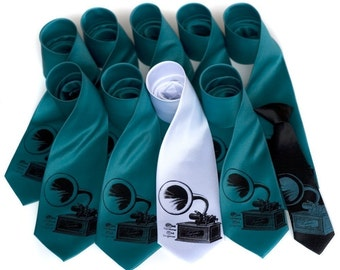 11 Groomsmen Neckties. Custom color & print. 30% wedding group discount, matching vegan-safe ties, silkscreen design