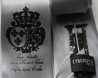 Let Them Eat Cake tie - Marie Antoinette Screen printed silver microfiber necktie