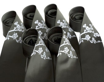 8 men's silk neckties, wedding groomsmen package discount. Silkscreen ties.