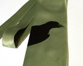 Raven Necktie. Bird silhouette. Silkscreened men's tie. Edgar Allan Poe lover gift. Choose color and tie size. Microfiber, Vegan safe.