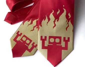 Robot Inferno red necktie, Diesel Sweeties. Standard or narrow width men's tie.