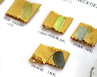 6 printing ink and microfiber fabric necktie swatch samples. Color matching card for custom order ties. Choose from 56 tie fabric colors.