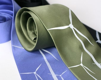 Wind Turbine silk necktie, white silkscreen print, windmill screenprinted tie.