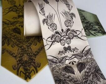Beer men's tie. Silk necktie with hops, barley and wheat. Silkscreen necktie. Espresso brown print.