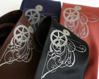 Victorian Gears. Men's silkscreen necktie. Screen printed microfiber tie, standard or narrow width.