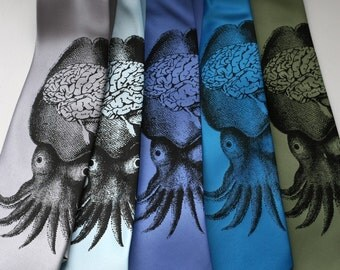 "Squid Necktie. Octopus and brain ""Smart Squid"" men's tie. Black screenprint on oceanic blue tie and more."