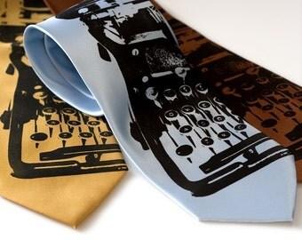 Underwood Typewriter necktie - silkscreened microfiber tie, black ink. Choose standard or narrow.