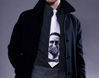 Gasmask Necktie. Men's silkscreen tie.  Black print. Screenprinted microfiber tie, military fashion.