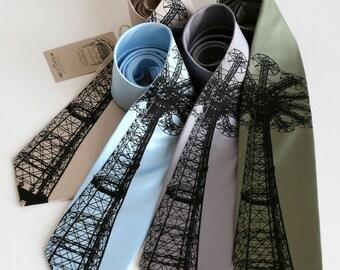 Coney Island Parachute Jump tie. Screenprinted microfiber necktie. Choose standard or narrow.
