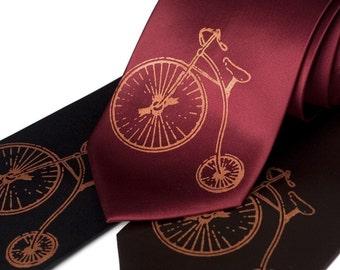 Antique Bicycle necktie - vintage hiwheel bike, screenprinted microfiber tie. Copper ink. Standard or narrow