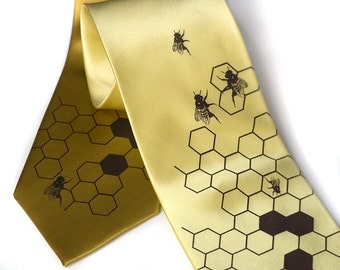 Oh Honey. Men's beehive yellow gold silk necktie. Silkscreened honey bee tie, chocolate brown ink.