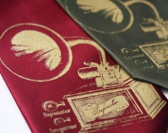 Antique phonograph tie.  Silkscreen microfiber gramophone necktie. Metallic gold ink.