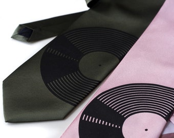 Record Necktie, Vinyl Record Graphic Tie for Men, Music Gift for Him, Audiophile Gift for Dad, Rock Music Tie, LP Record Collector, Techno