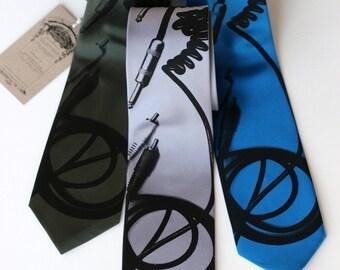 Screen printed necktie, Cable Tie. RCA & quarter inch connectors.  Silkscreen microfiber. Choose standard or narrow.